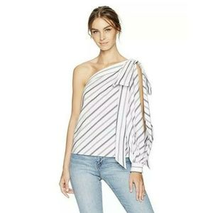 Milly Side Button Down Striped One Shoulder Top